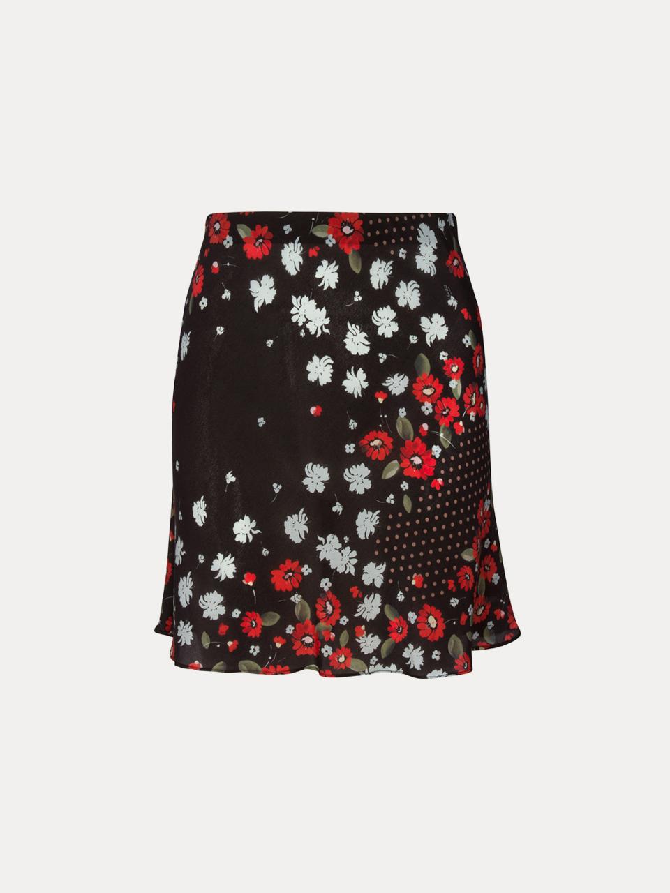 EU M. Red and White Print Mini Skirt Size UK 12