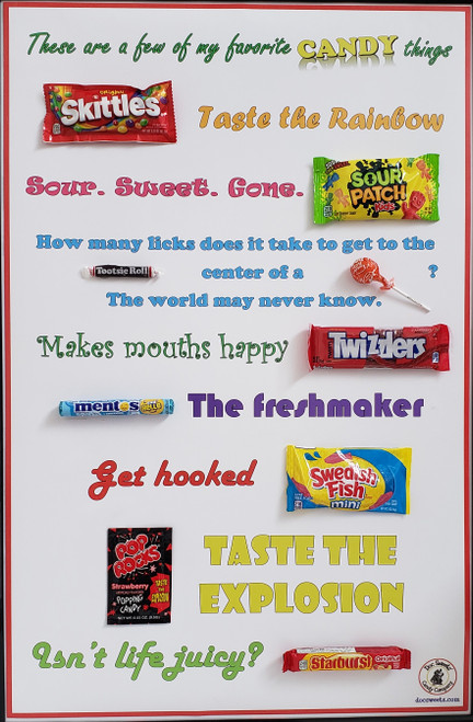 Candy Favorites poster AFTER attaching candy
