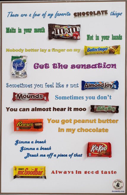 Chocolate Favorites poster AFTER attaching candy