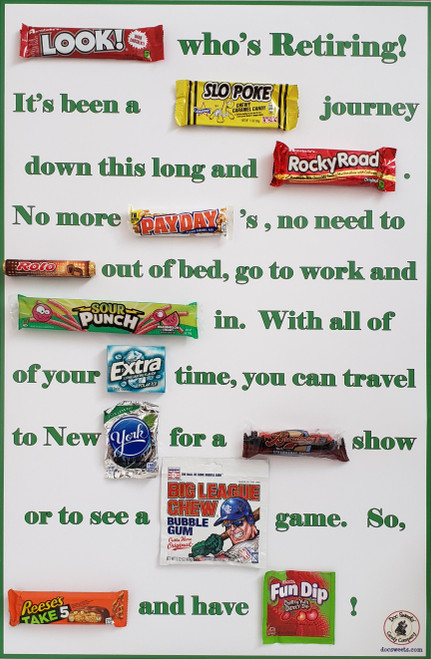 Retiree poster AFTER attaching candy