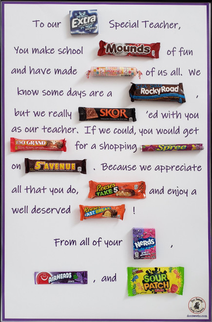 Teacher poster AFTER attaching candy