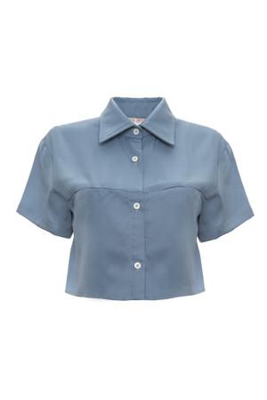 Camisa crop manga corta en tencel