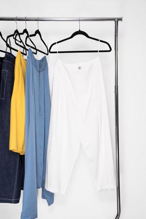 Pantalon Tiro Bajo en tejido de punto marfil