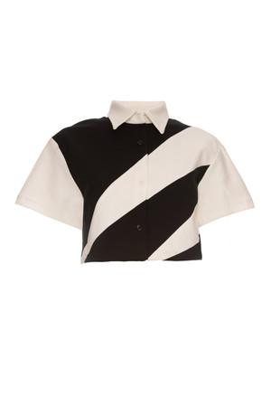 Camisa crop mosaico blanco y negro en tejido de punto