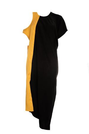 Vestido doble escote en combinación de tencel
