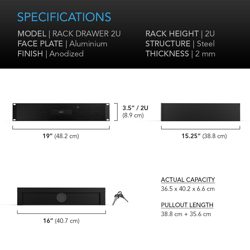 Heavy-Duty Aluminium Rack Drawer 2U