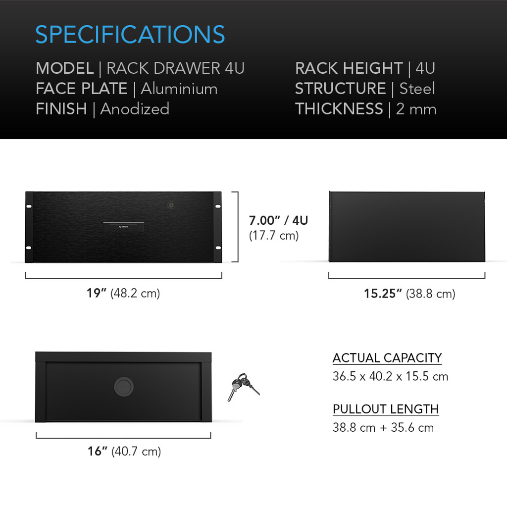 AC INFINITY, Heavy-Duty Rack Drawer with Aluminium Faceplate, 4U