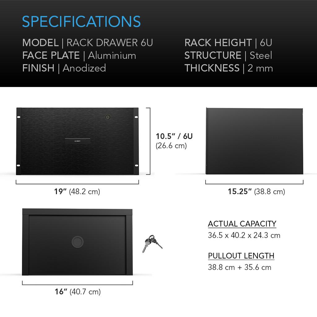 (FUTURE PRODUCT) AC INFINITY, Heavy-Duty Rack Drawer with Aluminium  Faceplate, 6U