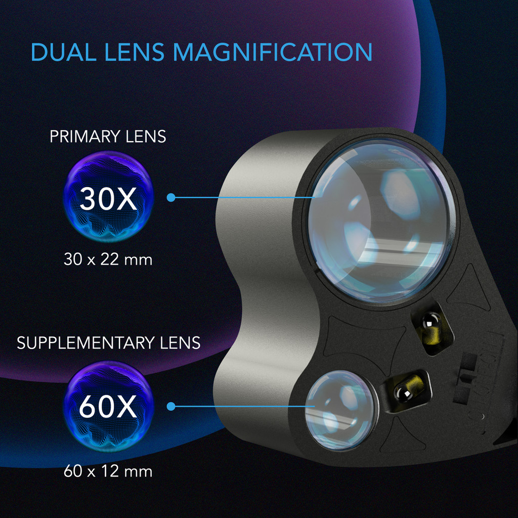 Jewelers Loupe, Pocket Magnifying Glass with LED Light & Dual Lenses, 30x 60x Zoom for Jewelry, Watches, Coins, Stamps, Plant Buds