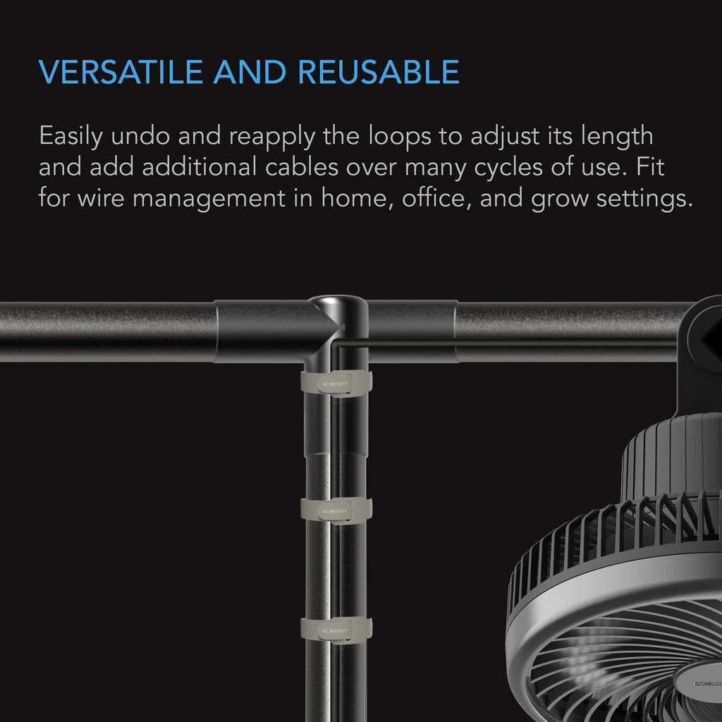 Velcro Cable Ties, Adjustable Hook and Loop Straps, Reusable Wire Management Strips for Organizing Home, Office, and Indoor Grow Space