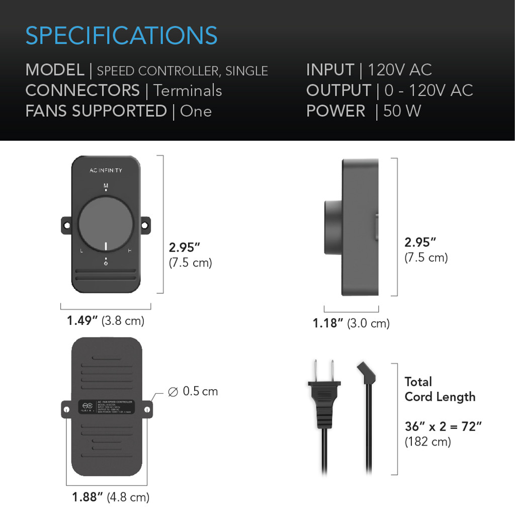 fan speed controller for ac axial muffin fans, single ac infinityac axial muffin fan speed controller cord