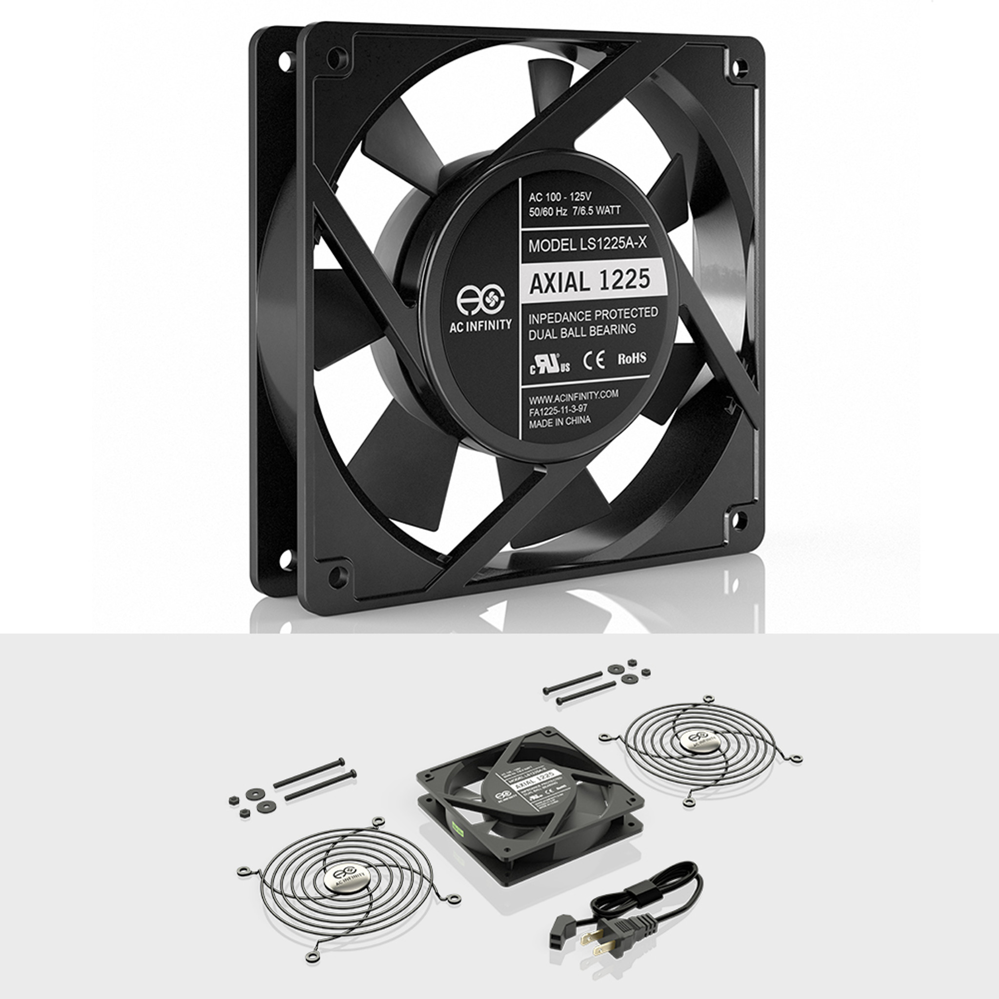 115V 120V AC 120mm x 25mm Low Speed, AC Infinity AXIAL 1225 Quiet Muffin Fan