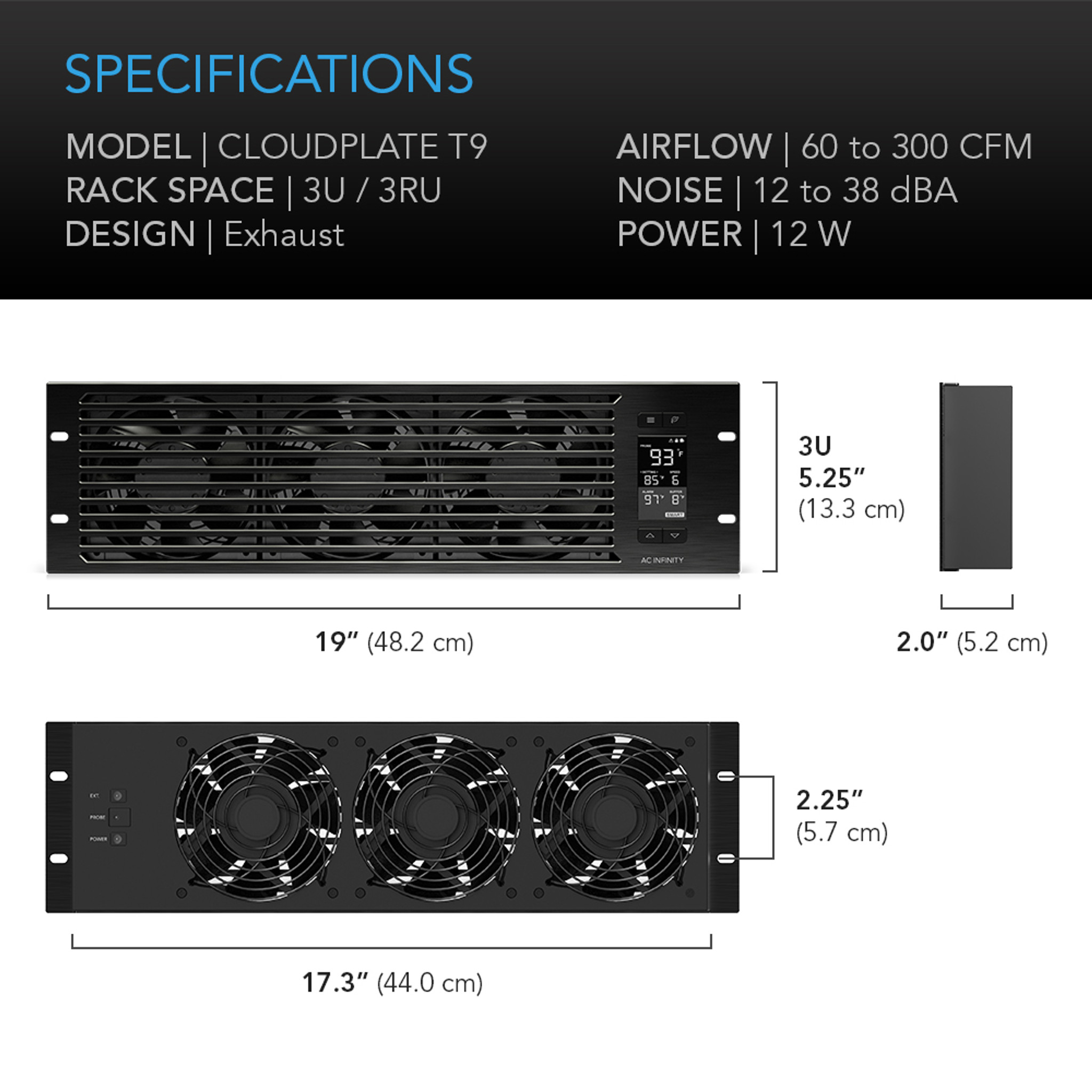 Cloudplate T9 Pro Quiet Rack Cooling Fan System 3u Exhaust Ac Fans Electronic Product Design Mount