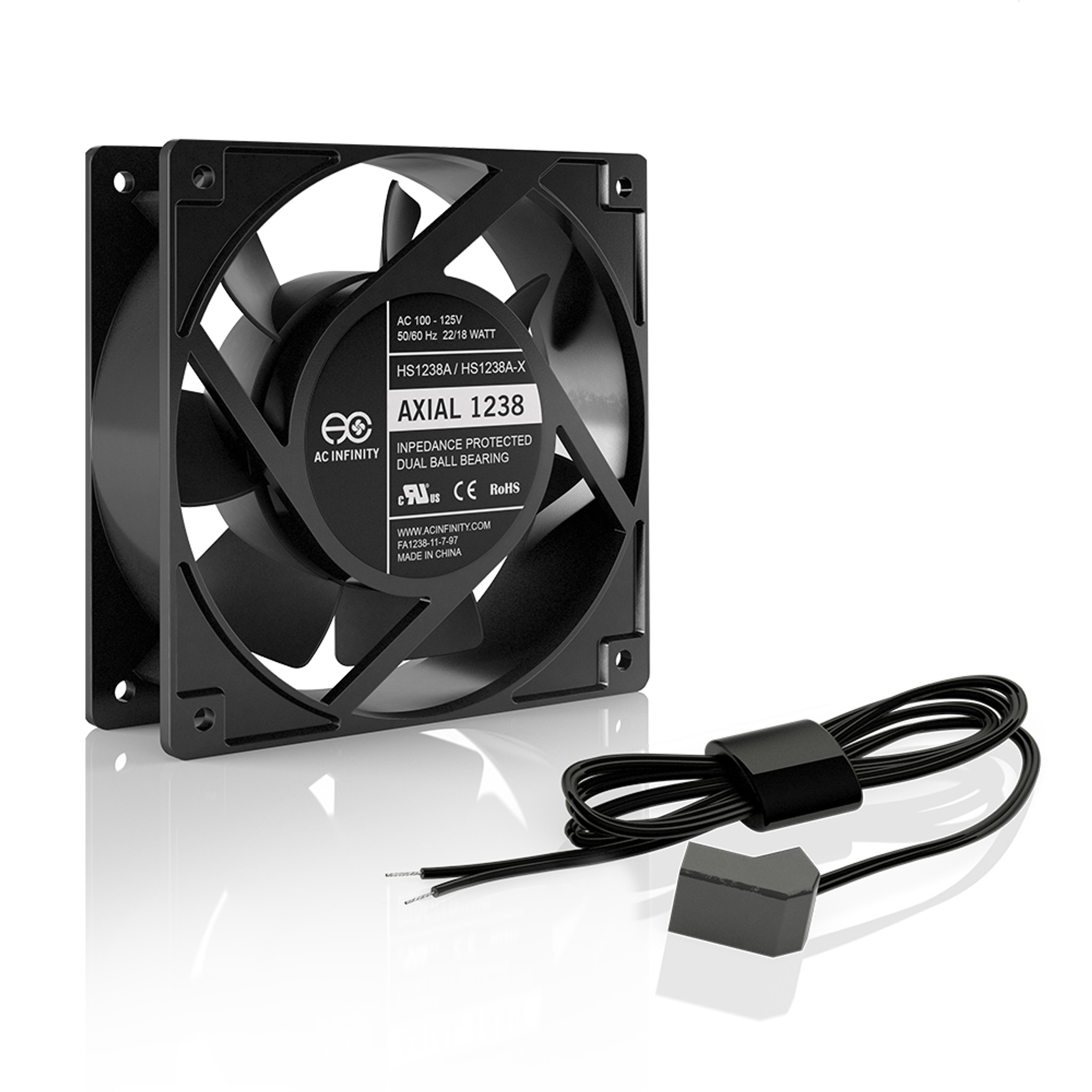 AXIAL 1238W, 120V AC Muffin Fan with Wire-Leads Adapter, 120mm x 38mm High  Speed - AC InfinityAC Infinity