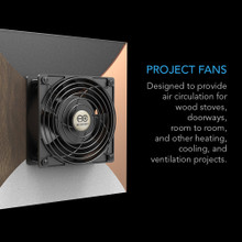 Doorway fan, room-to-room fan, fireplace fan, pellet wood stove fan, ventilation and circulation fan