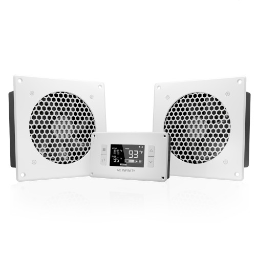 AIRPLATE T8 White, Home Theater and AV Quiet Cabinet Cooling Dual-Fan System, 6 Inch