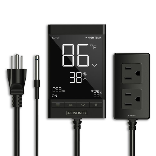 Smart Outlet Controller, Digital Thermostat with Temperature, Humidity, and Timer Controls, For Heat Mat Seedling Germination Propagation