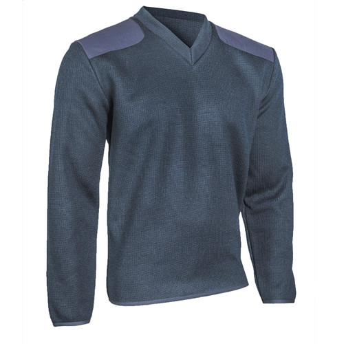 Cobmex 2030 V-Neck Fleece Lined Commando Sweater with Epaulettes