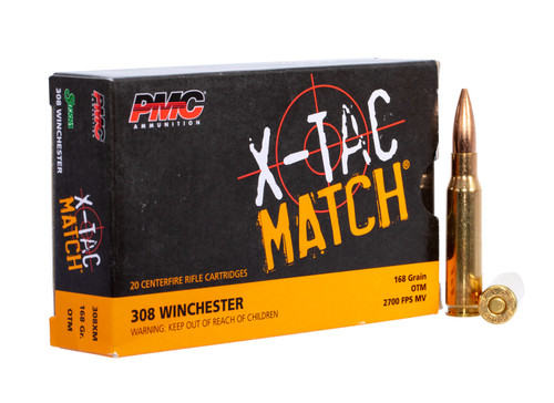 PMC 308XM X-Tac Match 308 Win 168 gr Open Tip Match (OTM) Ammunition - Case