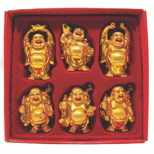 """Set De 6 Budas Color Dorado 5"""""""