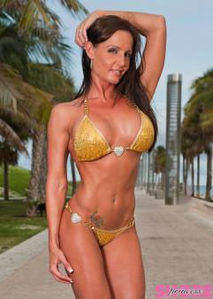 Gold Sequin Chain and Hearts Bikini