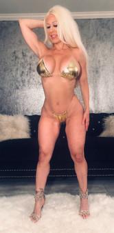 Gold metallic thong
