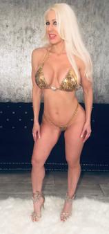 Gold cheetah chain thong