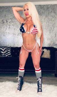 American flag heart/Swarovski bows scrunchie