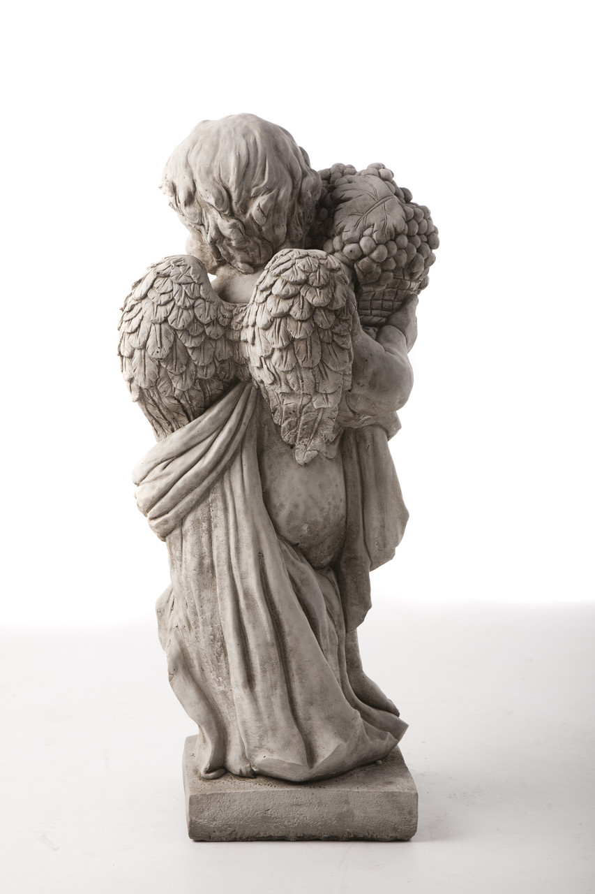 Summer Angel Cherub statue with fruit, beautiful design impressive detail UK delivery available with DGS Statues.