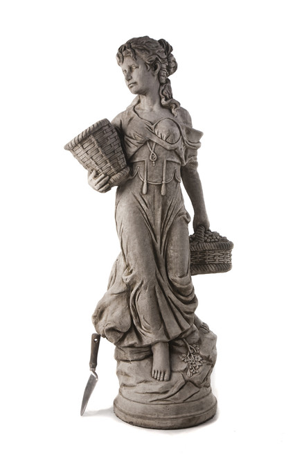 very large statue of lady holding basket