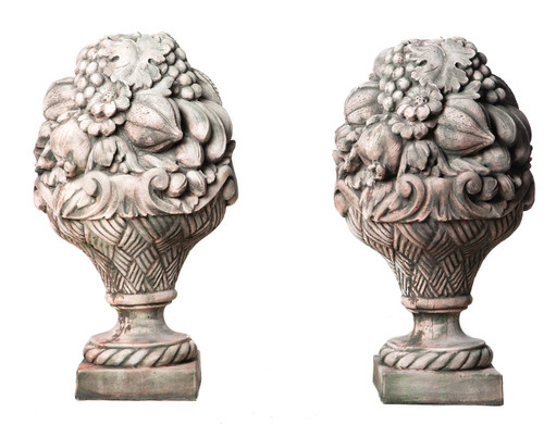 Pair of Fruit Pilar Gate Posts www.discountgardenstatues.co.uk