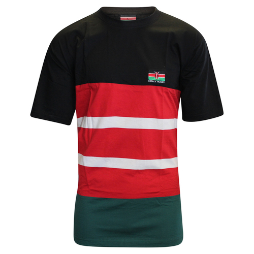 Kenya Rugby Supporter T-Shirt - Black/Red/Green | Rugby City