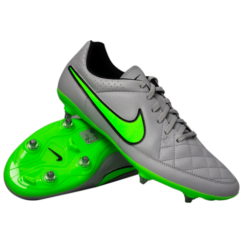 Nike Tiempo Genio Leather SG - WolfGrey/Green   Rugby City