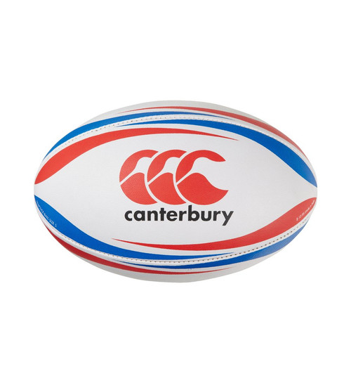 Canterbury Practice Rugby Ball - White/Blue/Scarlet | Rugby City