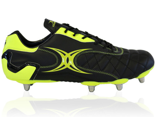 Gilbert Sidestep Revolution 8 Stud Rugby Boot - Black/Green   Rugby City