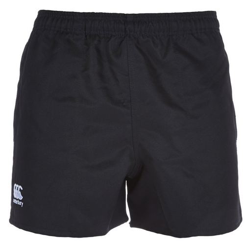 The Canterbury professional short features an elasticated waist with internal drawcords and is made of a tough 100% polyester twill fabric. Complete with welt seams, side pockets and CCC logo.