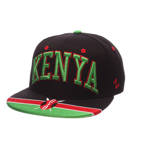 Kenya Super Star World by Zephyr. Made from black ZClassic™. Adjustable 2-color red & green snapback closure and embroidered flag visor.