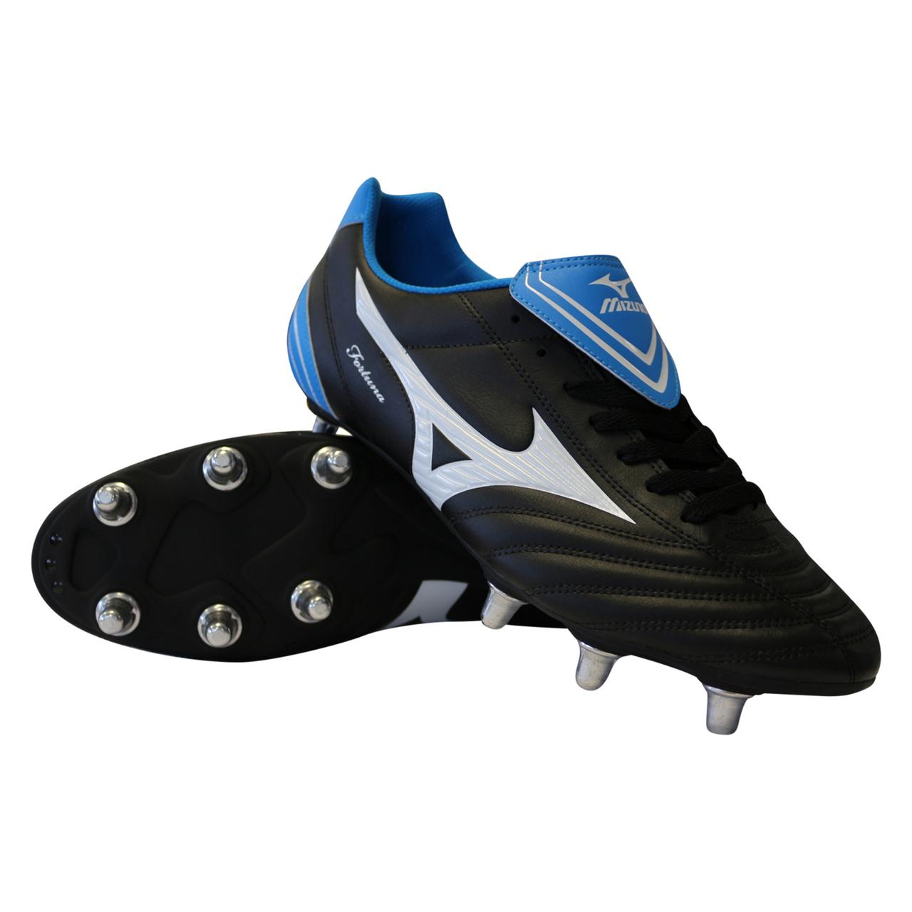 buy online 64e35 46f35 Mizuno Fortuna 4 SG Rugby Boots Black White Blue