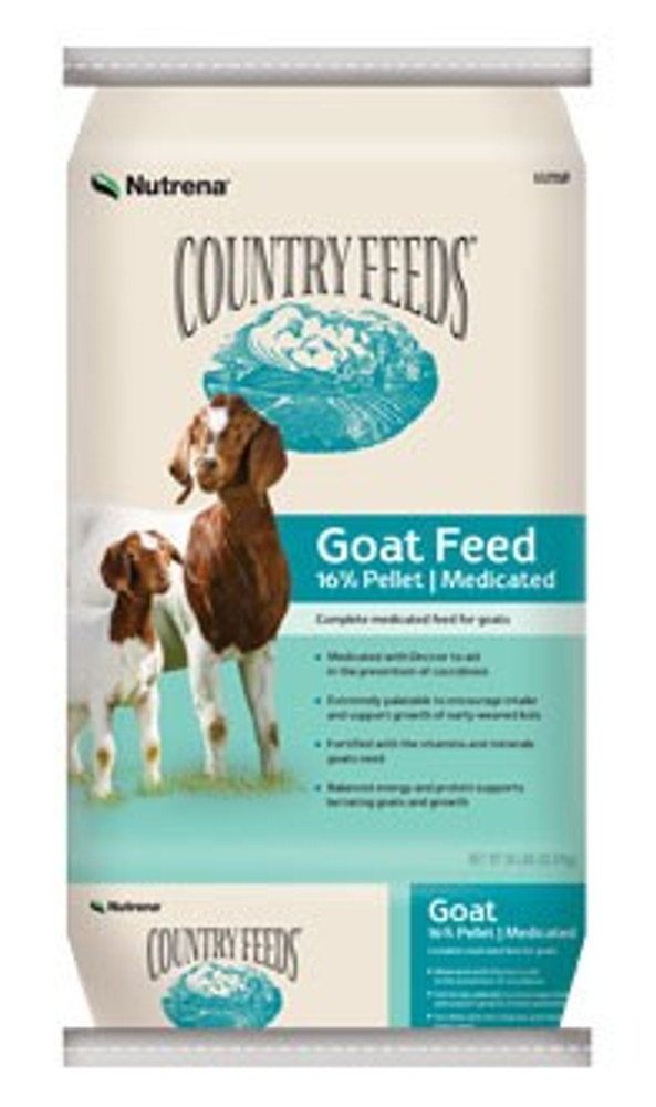 Country Feeds, Goat Medicated Feed, Pelleted, 17%, 50 Lb