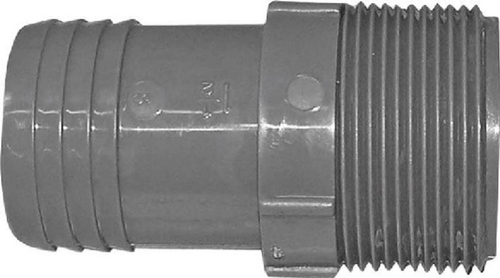 "Barbed Tube Fittings, 1-1/2"", MPT Adapter, Polypropylene"