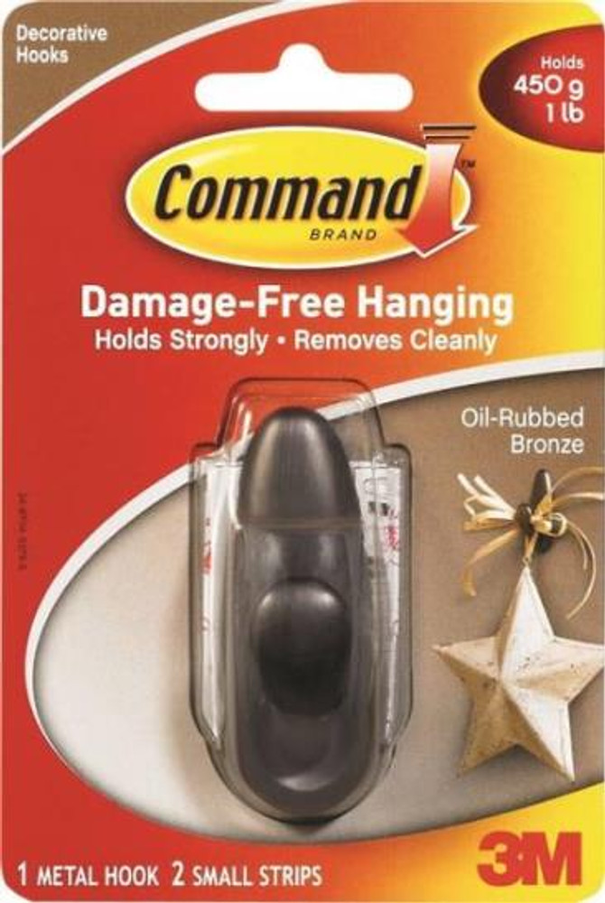 3M Command,  Oil Rubbed Bronze, Small Adhesive Hook
