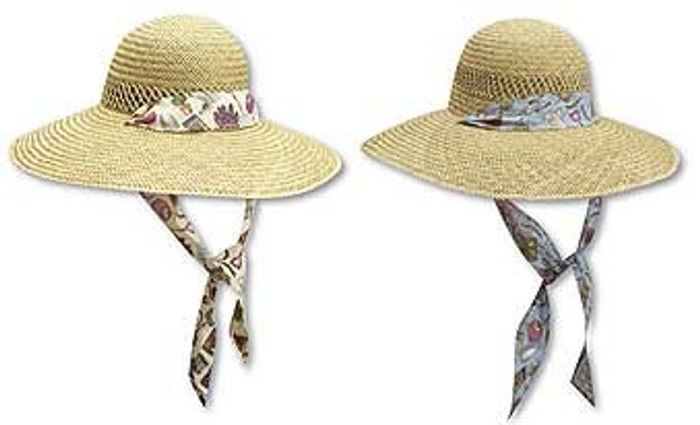 Ladies Garden Rush Straw Hat With Garden Print Band