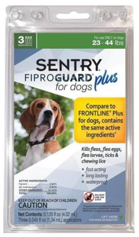 Sentry, Flea & Tick, Squeeze-On, 23-44 Lb Dogs, 3 Tubes