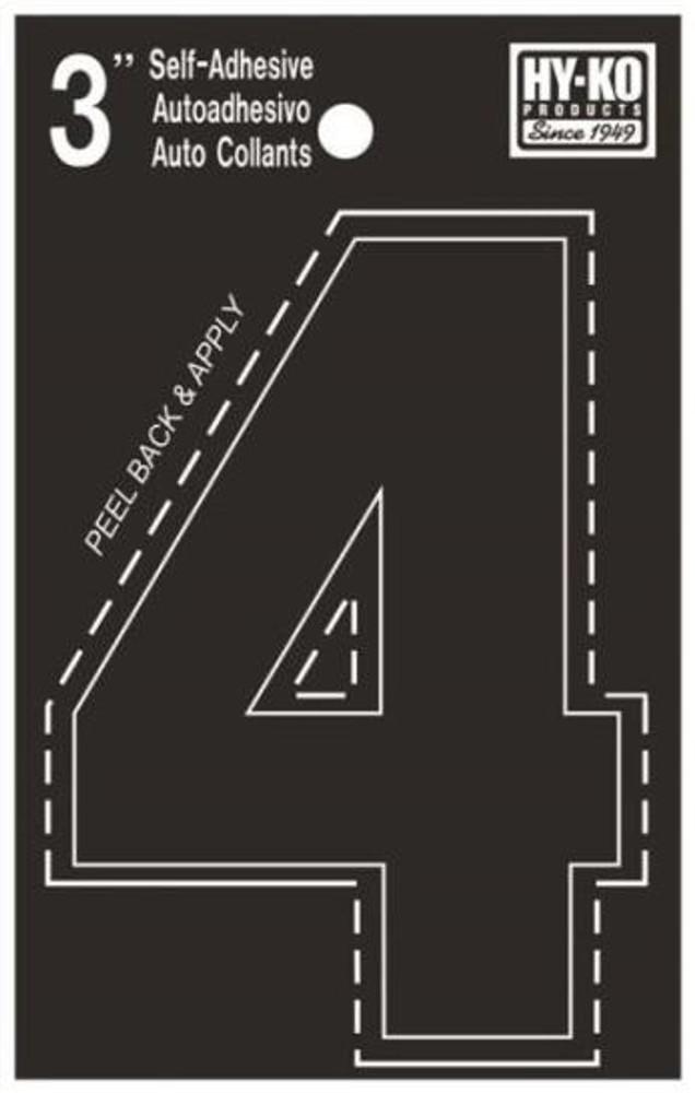 """Boat Number, """"4"""", Die Cut, 3"""" High"""