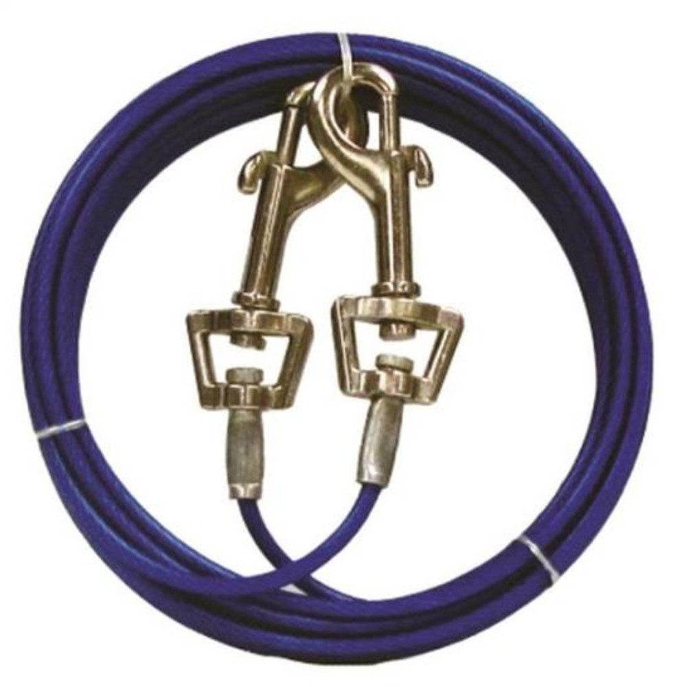 Dog/Pet Tie Out, 15' Vinyl Covered Aircraft Cable