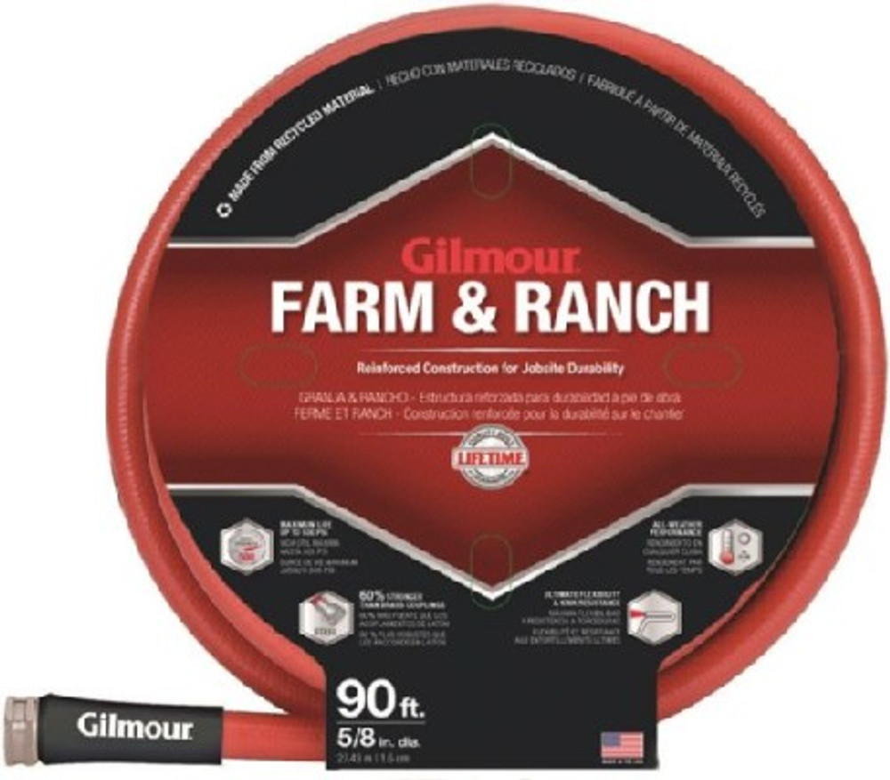 "Gilmour, Farm & Ranch Water Hose, 5/8"" x 90', Rubber, Red"