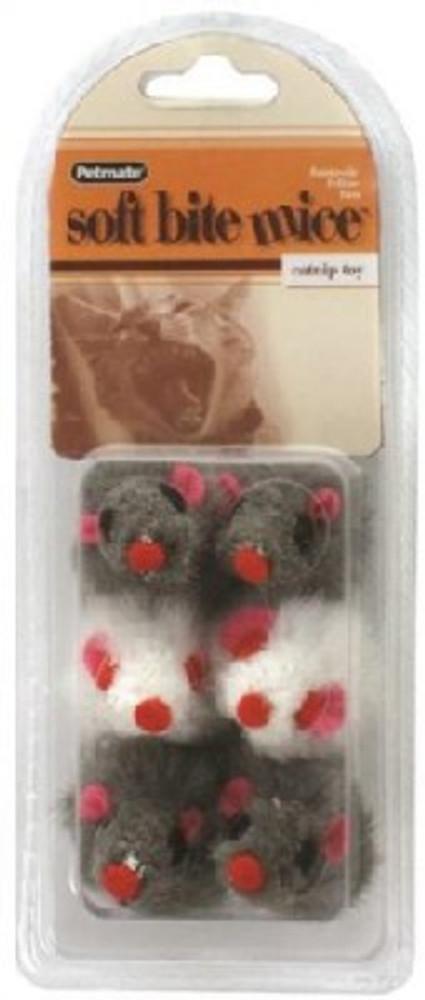 Cat Toy, Furrry Mice With Cat Nip, 6 Pack