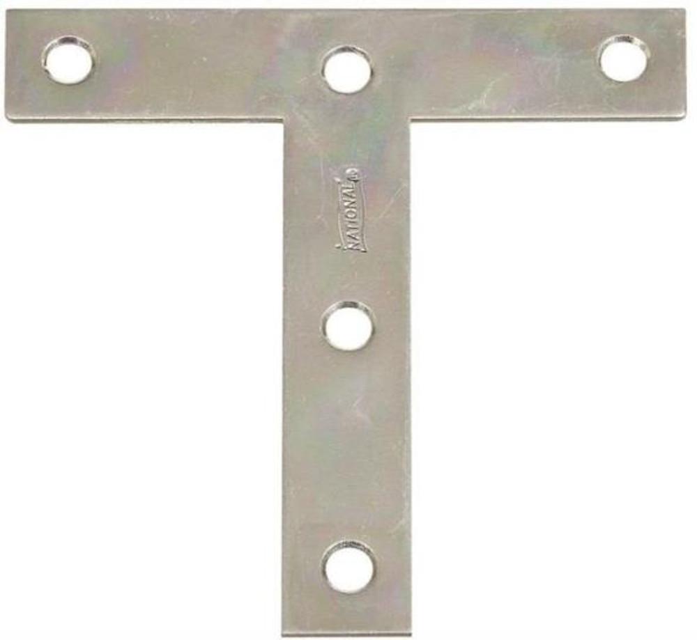 "T Plate, 4"" x 4"", Steel, Zinc Plated"
