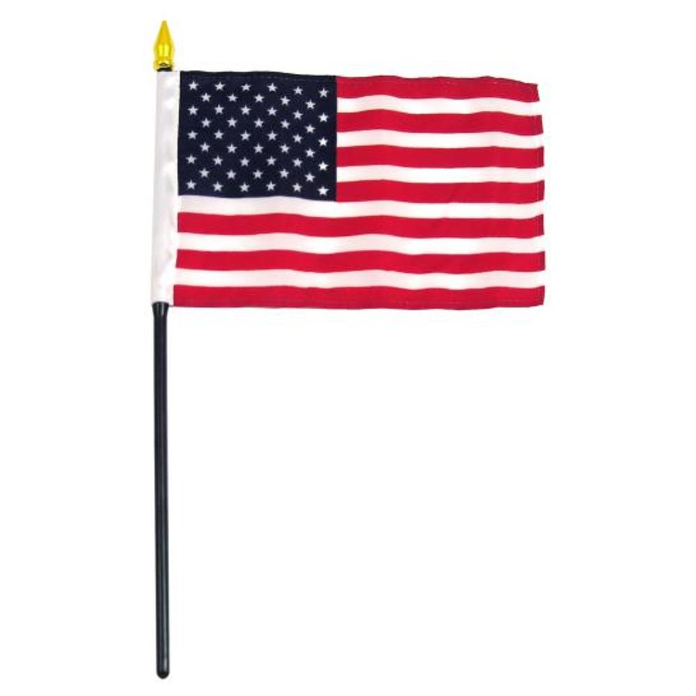 """US Stick Flag, 4"""" x 6"""", Black Staff, Gold Spearhead, Valprin"""