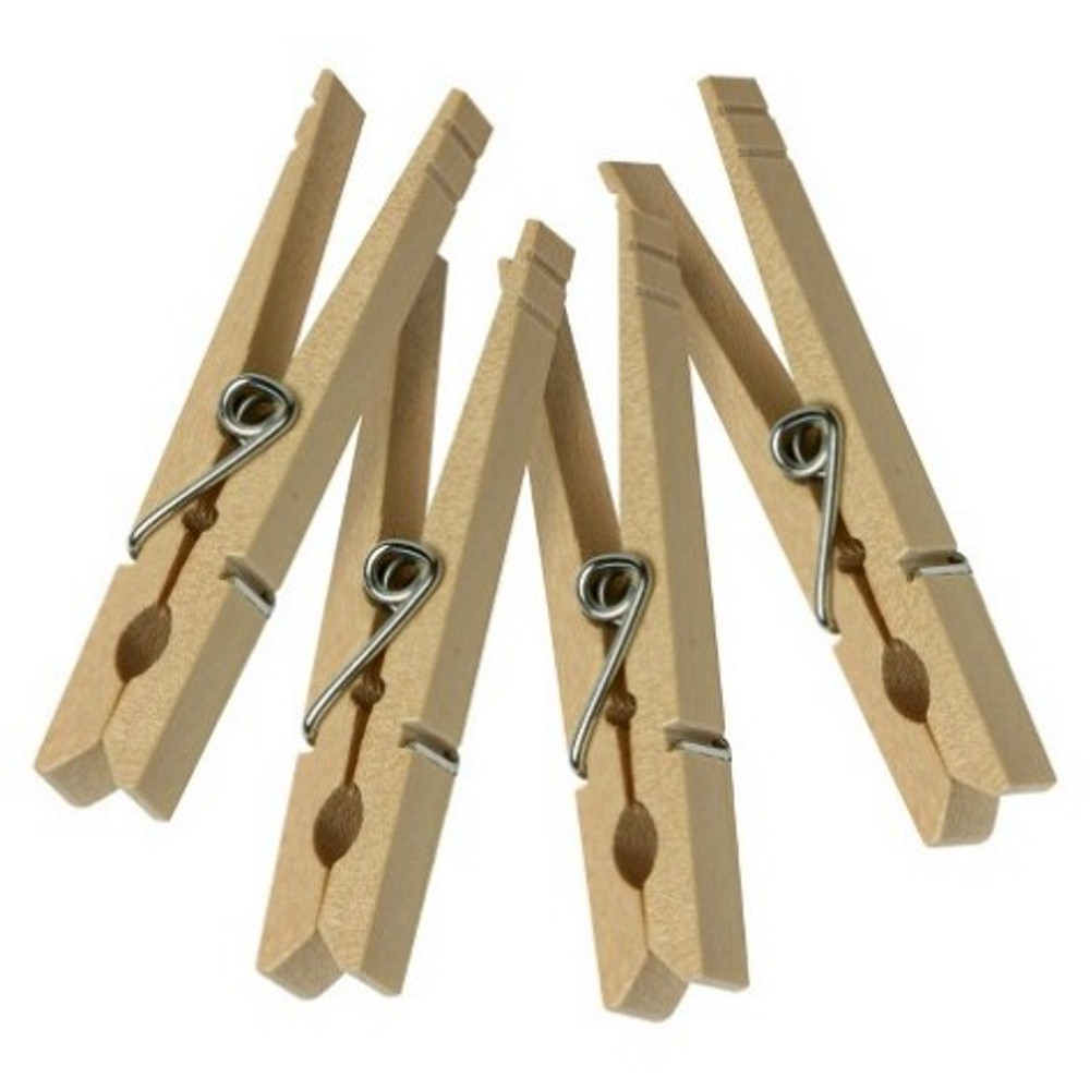 Clothespins, Wood, With Spring, 50 Pack